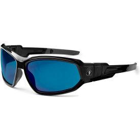 Ergodyne® Skullerz® Loki Safety Glasses/Goggles, Blue Mirror Lens, Black Frame - Pkg Qty 12