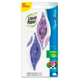 Liquid Paper® DryLine® Grip Correction Tape, 1/5 in x 335 in, White, 2/Pack
