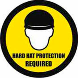 "Durastripe 20"" Round Sign - Hard Hat Protection Required"