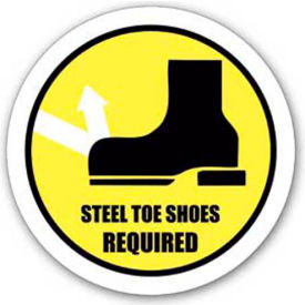 """Durastripe 20"""" Round Sign - Steel Toe Shoes Required"""