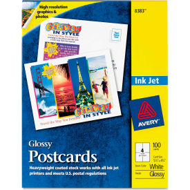 "Avery® Photo-Quality Glossy Postcards for Inkjet Printers 8383, 4"" x 6"", Glossy White, 100/Pack"