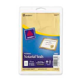 "Avery® Print or Write Notarial & Certificate Seals, 2"" Diameter, Gold, 44 Labels/Pack"