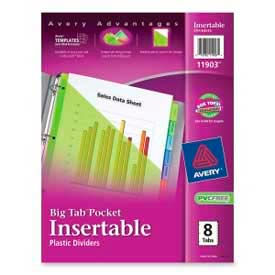 Avery® Plastic Pocket Insertable Tab Dividers, Assorted, 8 Tabs/Set