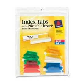 """Avery Self-Adhesive Index Tabs with Printable Inserts, 1"""" Width, Assorted, 25 Tabs/Pack by"""