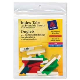 "Avery® Self-Adhesive Index Tabs with Printable Inserts, 1-1/2"" Width, Assorted, 25 Tabs/Pack"
