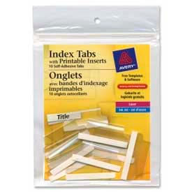 "Avery® Self-Adhesive Index Tabs with Printable Inserts, 1-1/2"" Width, Clear, 25 Tabs/Pack"