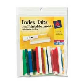 "Avery® Self-Adhesive Index Tabs with Printable Inserts, 2"" Width, Assorted, 25 Tabs/Pack"