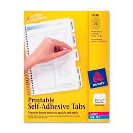 "Avery® Printable Self-Adhesive Tabs, 1-1/4"" Width, White, 96 Tabs/Pack"