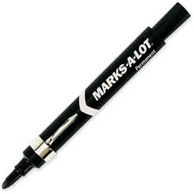 Avery® Marks-A-Lot Permanent Marker, Pocket Clip, Bullet Tip, Black Ink, Dozen