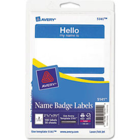 """Avery® """"Hello, my name is"""" Name Badge Labels, 2-11/32"""" x 3-3/8"""", Blue, 100 Labels/Pack"""
