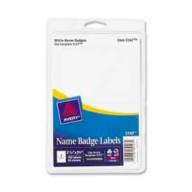 """Avery® Name Badge Labels, 2-11/32"""" x 3-3/8"""", White, 100 Labels/Pack"""