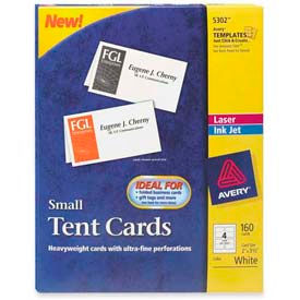 """Avery® Laser/Inkjet Tent Cards, 2"""" x 3-1/2"""", White, 160 Cards/Pack"""