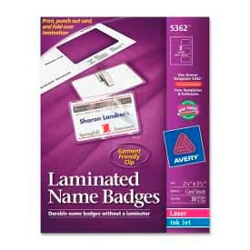 """Avery® Laminated Name Badge with Clips, 2-1/4"""" x 3-1/2"""", White, 30/Box"""
