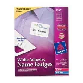 "Avery® Adhesive Name Badge Labels, 2-1/3"" x 3-3/8"", White, 400/Box"