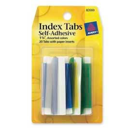 "Avery® Index Tabs with Writable Inserts, 1-3/4"" Width, Assorted, 20 Tabs/Pack"