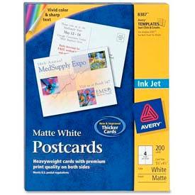 "Avery® Inkjet Post Card, 5-1/2"" x 4-1/4"", Matte, White, 200 Cards/Pack"