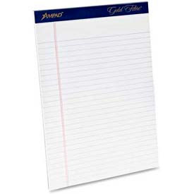 "Esselte® Gold Fibre Legal Pad, 8-1/2"" x 11-3/4"", Wide Ruled, White, 50 Sheets/Pad, 12 Pads/Pack"