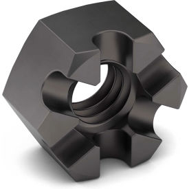 3/8-16 Slotted Hex Nut - Grade 2 - Carbon Steel - Zinc Clear - Coarse - Pkg of 25