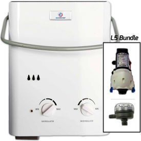 Eccotemp L5 Portable Tankless Water Heater W/ Flojet Pump & Strainer 11kW, 1.5 GPM by