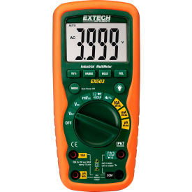 Extech EX503-NIST Heavy Duty Industrial MultiMeter, Orange/Green NIST Certified