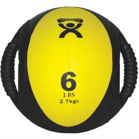 """CanDo® Dual-Handle Medicine Ball, 6 lb., 9"""" Dia (23 cm), Yellow"""