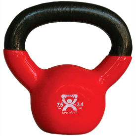 CanDo® Vinyl-Coated Cast Iron Kettlebell, 7.5 lb., Red