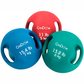 CanDo® Molded Dual-Handle Medicine Ball, 11 lb. (5 kg), Red