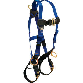 FallTech® 7018 Contractor 3-D Full Body Harness, 3 D-rings, Back and Side, Size UniFit