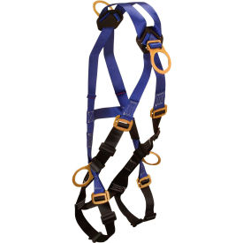 FallTech® 7019B Contractor Climbing Cross-over Harness, 4 D-rings, Size UniFit