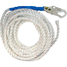 """FallTech® 8150T 50' Vertical Lifeline, 5/8"""" Polyester Rope, with 1 Snap Hook and Taped-End"""