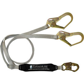 FallTech® 826073T Titanium 6' Shock Absorbing Lanyard, with 1 Snap Hook and 2 Rebar Hooks