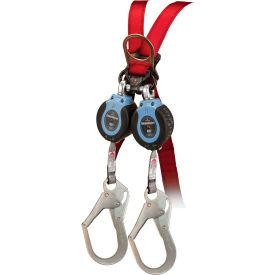 FallTech® 82706TB3 DuraTech Twin 6' Compact Web SRD, Carabiner with Alignment Clip & Rebar Hook