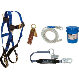 FallTech® 8595A Roofer's Kit with 7016 Harness, 3' Shock Absorbing Lanyard & Roof Anchor
