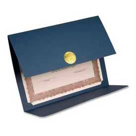 """First Base Double-Fold Certificate Holder, 12-1/2"""" x 9-1/4"""", Blue, 5/Pack"""