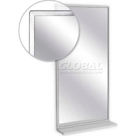 "A&J Washroom Angle Frame Mirror U705T-2430, 24""W x 30""H, W/Mounted Shelf, Tempered Glass Surface"