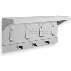 "A&J Washroom Mop Holder & Hook Strip W/Shelf UJ45A, 34""L, 3 Holders, 4 Hooks"