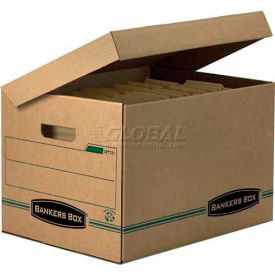 """Fellowes 12772 Recycled Systematic®, Letter/Legal Box, 16""""l x 12-1/2""""W x 10-3/4""""H, Kraft/Green - Pkg Qty 12"""