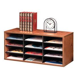 Fellowes®  12-Section Compartment Sorter, Melamine Laminated, Medium Oak