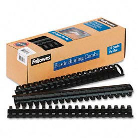 "Fellowes® Plastic Binding Combs, 1-1/2"", 340 Sheets, Black, 10/Pack - Pkg Qty 20"