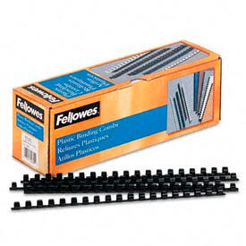 "Fellowes® Plastic Combs - Round Back, 3/8"", 55 Sheets, Black, 100/Pk - Pkg Qty 20"