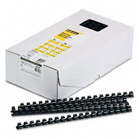 """Fellowes® Plastic Combs - Round Back, 1/2"""", 90 Sheets, Black, 100/Pack - Pkg Qty 12"""