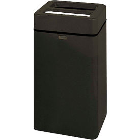"Square Ash And Trash Receptacle, Black,20 gal capacity,16""Sq x 30""H"
