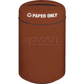 Round Fiberglass Paper Recycling Trash Can - Burgundy, 20 Gallon Capacity