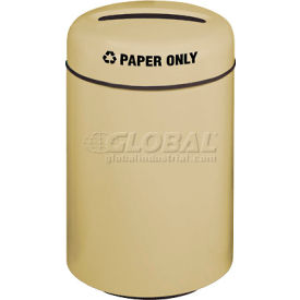 Round Fiberglass Paper Recycling Trash Can - Almond, 20 Gallon Capacity