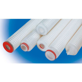 High Purity Pleated Poly Cartridge Filter 40 Micron - 2-3/4D x 10H Viton Seal, 222 w/Flat Cap Ends - Pkg Qty 6