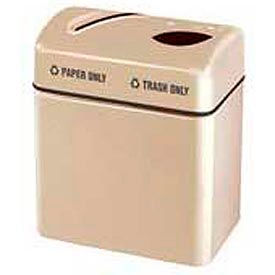 "Two Section Recycling Receptacle, Almond, 16 gal, 24""W x 28""H x 15""Dp"