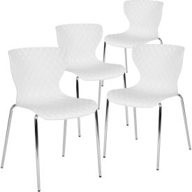 Flash Furniture Plastic Stack Chair - Lowell Contemporary Design - White  - 4 per Pack