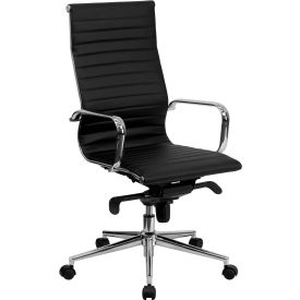 Executive Office High Back Ribbed Upholstered Leather Chair - Black