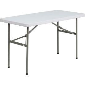 4' Plastic Folding Table - Granite White
