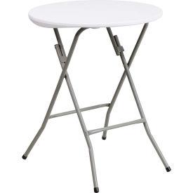 2' Round Plastic Folding Table - Granite White